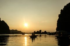 Halong bay, Vietnam. Beautiful sunset in halong Royalty Free Stock Images