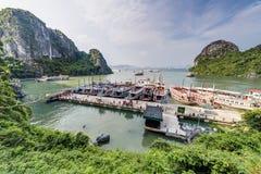 HALONG BAY, VIETNAM - CIRCA AUGUST 2015: Cruise ships in Dau Go island bay, Halong Bay,   Vietnam Stock Photo