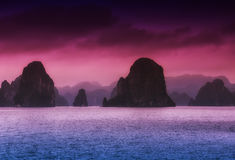 Halong Bay Vietnam. The dramatic landscape of HaLong Bay in northern vietnam royalty free stock images