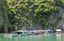 Halong Bay, Vietnam  floating village Royalty Free Stock Photo