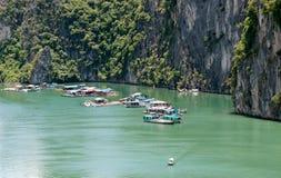 Halong Bay, Vietnam  floating village Royalty Free Stock Images