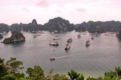 Halong Bay in Vietnam with a lot of islands in sunset time . Stock Photography