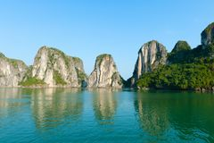 Halong Bay, Vietnam Mountains with reflections Royalty Free Stock Image