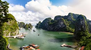 Halong Bay, Vietnam -panorama of the bay in front of Hang Sung Sot grottoes. Halong Bay is a UNESCO World Heritage Site, famous for its karst formations royalty free stock photos