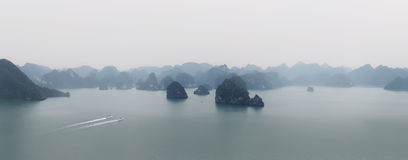 Halong Bay Vietnam panorama. Panoramic view of Ha Long bay sea Stock Photography