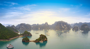 Halong bay Vietnam panoramic view stock images