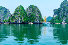 HALONG BAY, VIETNAM - SEPTEMBER 24, 2014 - A nice tourist ship crusing in the Bay Stock Images