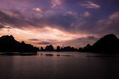 Halong Bay. Vietnam at sunset royalty free stock image