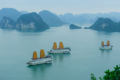 Halong bay. View of Halong Bay in Vietnam with mist in the morning stock photos