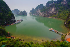 Halong bay. View of Halong Bay in Vietnam with mist in the morning stock photography