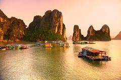 Halong fjärd, Vietnam. Arkivfoto