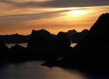 Halong's sunset. Sunset from the top of The Halong Bay, Vietnam royalty free stock photo