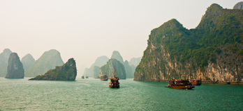 Halong Schacht-Panorama Stockbilder