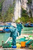 HALONG, VIETNAM - 16 DICEMBRE 2016: Pescatori nel pesce di vendita della baia verticale Copi lo spazio per testo immagine stock libera da diritti
