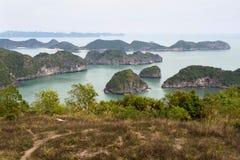 Halongbaai van Cat Ba Island, Vietnam wordt gezien dat Stock Afbeeldingen