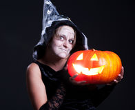 Halooween portrait of witch Stock Photo