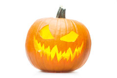 Halooween pumpkin's grin. Halloween pumpkin's grin on white isolated background Royalty Free Stock Photo