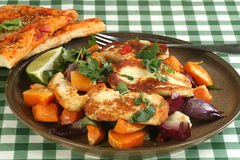 Haloumi with roast vegetables Royalty Free Stock Images