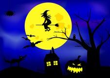 Haloween. Black scary Halloween big moon and dark background Stock Photo