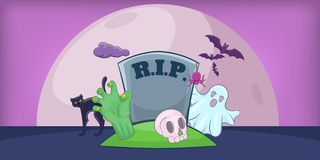 Haloween cemetery horizontal banner, cartoon style. Haloween cemetery horizontal banner concept. Cartoon illustration of haloween cemetery vector horizontal Royalty Free Stock Images