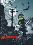 Haloween concept illustration. Haloween concept ,kid with scary pumpkin head jumping under the light of the moon surrounded by bats Royalty Free Stock Photos