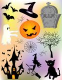 Haloween elements. Various halloween elements design stock illustration