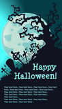 Haloween graveyard on a full moon Royalty Free Stock Photography