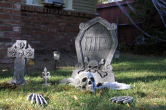 Haloween graveyard with skulls Royalty Free Stock Image