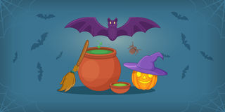 Haloween horizontal banner, cartoon style. Haloween horizontal banner concept. Cartoon illustration of haloween vector horizontal banner for web Royalty Free Stock Image