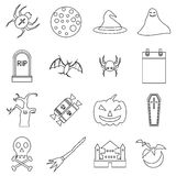 Haloween icons set, outline style. Haloween icons set. Outline illustration of 16 Haloween vector icons for web Stock Images