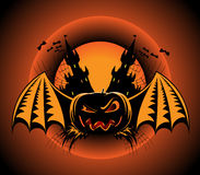 Haloween label with pumpkin. Bats and castles Stock Photo