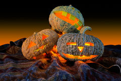 Haloween pumpkins. Three pumpkins for haloween day stock photo