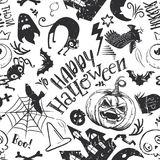 Fun Horror Seamless Pattern. Haloween Seamless Pattern in cartoon style. Black sketches characters. Grave, ghost, pumpkin, cat, bat, castle holiday doodles. Hand Stock Photography