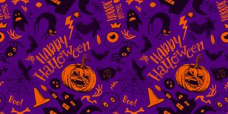 Purple Halloween Pattern. Haloween Seamless Pattern in cartoon style. Black sketches characters. Grave, ghost, pumpkin, cat, bat, castle holiday doodles. Hand Stock Photo