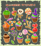 Haloween stickers. Traditional sweets and candies for holiday Halloween. Halloween candies isolated on white background. Haloween stickers. Traditional sweets Royalty Free Stock Photos