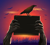 Haloween zombie hands holding a placard and crow. In silhouette Royalty Free Stock Images