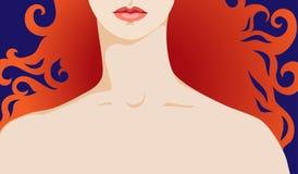 Hals en schouder van een redhead meisje Royalty-vrije Illustratie