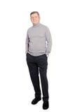 Hals för rulle för affärsman för hög man bärande Jumper In Grey Isolated arkivfoton