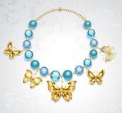 Halsband av guld- fjärilar stock illustrationer