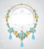 Halsband med guld- blommor Fotografering för Bildbyråer