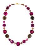 Halsband med pärlemor och chalcedonyen Arkivbilder