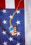 Halsband med statyn av frihet på amerikanska flaggan Royaltyfria Bilder
