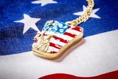 Halsband med statyn av frihet på amerikanska flaggan Royaltyfri Fotografi