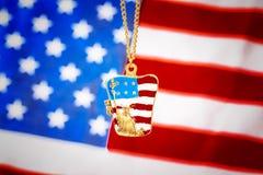 Halsband med statyn av frihet på amerikanska flaggan Royaltyfria Foton
