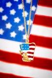 Halsband med statyn av frihet på amerikanska flaggan Arkivfoto