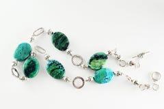 Halsband met azuurblauwe gem Royalty-vrije Stock Foto's