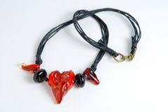 Halsband met met de hand gemaakte parels, lampwork parels royalty-vrije stock foto