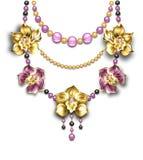 Halsband met orchideeën Royalty-vrije Stock Afbeelding