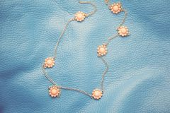 Halsband op blauwe textuur Royalty-vrije Stock Foto