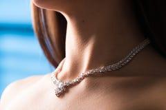 Halsband på halsen rubin och smaragd royaltyfria foton